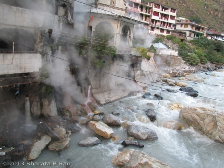 Hot sulpher water joining the cold waters of River Parvati at Manikaran